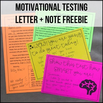 Motivational State Testing Letter and Note Freebie