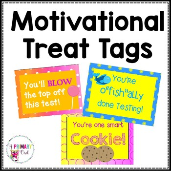 Motivational Test Taking Notes **Treat Tags**