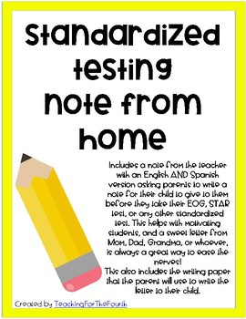 Motivational Testing Note from Parents to Student