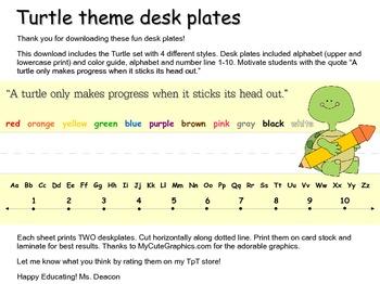 Motivational Turtle Desk Plates