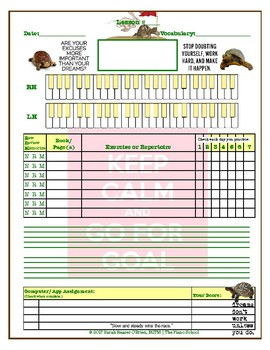 Motivational Turtle Themed Piano Lesson Assignment Sheet