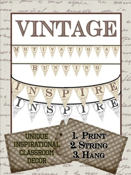 "Motivational Vintage Bunting - ""INSPIRE"" - Print and Hang!"
