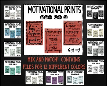 Motivational Wall Prints - Set 2 - 12 Colors