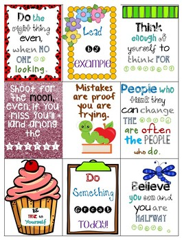 Motivational mini posters and stickers