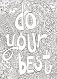 Motivational poster, coloring poster, excellence, do your best work,