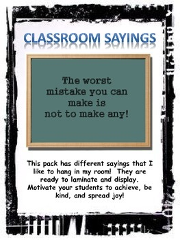 Motivational Classroom Sayings