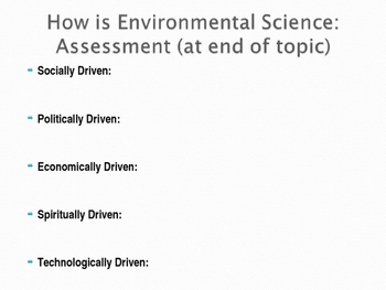 Motivations in Environmental Science: Student Guided Notes