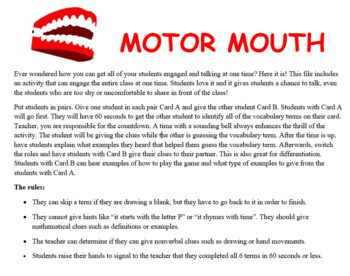 Motor Mouth Activity:  Geometric Solid Figures