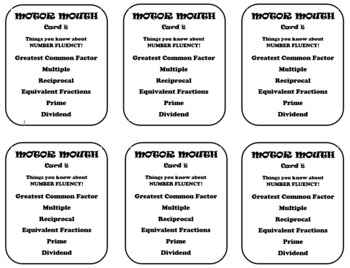 Motor Mouth Activity:  Number Fluency (factors, multiples, fractions)