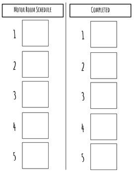 Motor Room Schedule