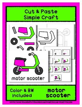 Motor Scooter - Cut & Paste Craft - Super Easy perfect for Pre-K & Kindergarten