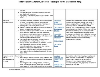 Motor, Sensory, Attention, and More - Strategies for the Classroom Setting