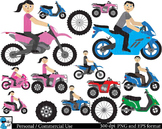Motorcycle, ATV and scooter Digital Clip Art Graphics 48 images cod6