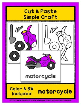 Motorcycle - Cut & Paste Craft - Super Easy perfect for Pre-K & Kindergarten