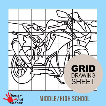 Motorcycle Grid Drawing Worksheet for Middle/High Grades