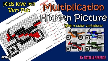 Motorcycle Multiplication Mystery Picture - Fun Math