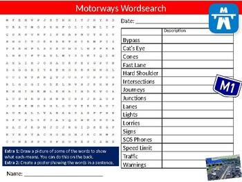 Motorways Wordsearch Puzzle Sheet Keywords Cars Transport Freeways