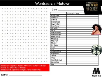 Motown Wordsearch Puzzle Sheet Keywords Musical Genre Music