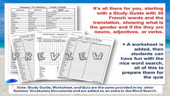 French Summer Word Search + Study Guide + Translation + Discussion