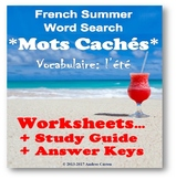 French Summer Word Search + Study Guide + Translation + Di
