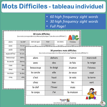 French: Mots Difficiles tableau individuel