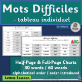 French: Mots Difficiles - tableau individuel (SASSOON Font)