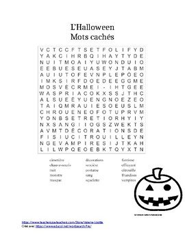 Bekannt Mots cachés - Halloween by Valerie Lizotte | Teachers Pay Teachers SO32