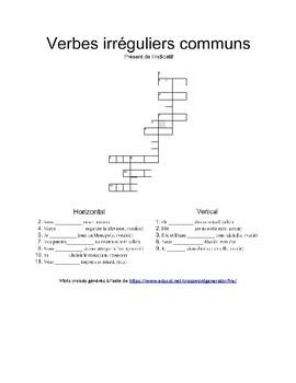 Mots croisés - Verbes irréguliers communs au présent de l'indicatif