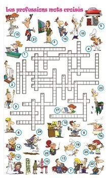 Mots croises crosswords metier professions travail french francais