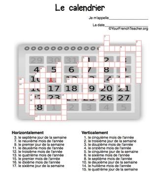 Mots croisés: le calendrier (French calendar crossword puzzle - 3 puzzles)