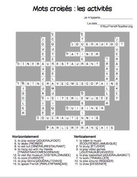 Mots croisés: les activités (French -ER verbs 15 crossword puzzles)