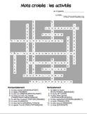 Mots croisés: les activités (French -ER verbs 15 crossword