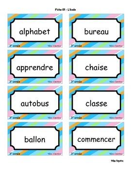 Mots d'orthographe - 3e année