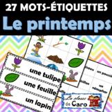 Mots étiquettes - Le printemps - Mur de mots - Vocabulaire FRENCH WORD WALL
