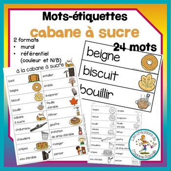 Mots-etiquettes - cabane a sucre / sugar shack words wall