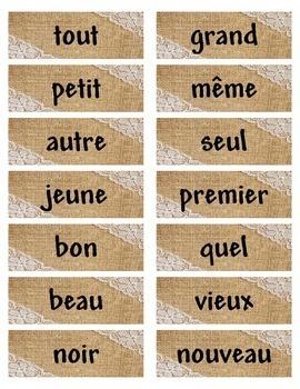 Mots etiquettes d'adjectifs