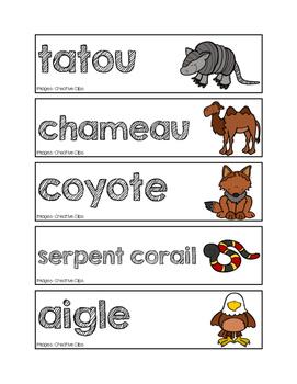 Mots-étiquettes des animaux du désert