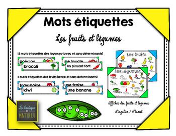 Mots étiquettes et affiches des fruits et légumes [FRENCH]