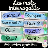 Mots interrogatifs - étiquettes - gratuit - French Question Words - Free