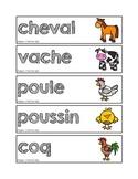Mots-étiquettes des animaux de la ferme