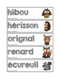 Mots-étiquettes des animaux de la forêt
