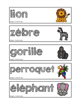 Mots-étiquettes des animaux du zoo