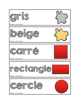 Mots-étiquettes des formes et des couleurs