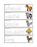 Mots-étiquetts de pré-écriture des animaux de la ferme