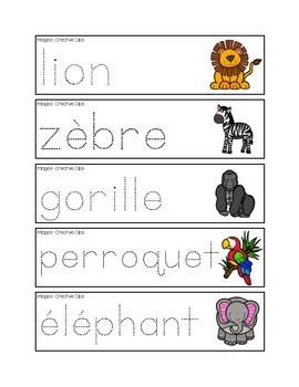 Mots-étiquettes de pré-écriture des animaux du zoo