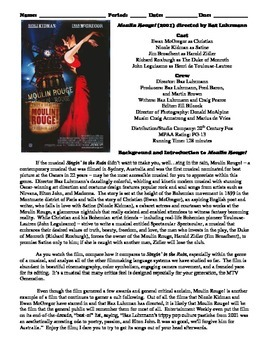 Moulin Rouge! Film (2001) Study Guide Movie Packet