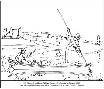 Mount. Eel Spearing at Setauket. Coloring page and lesson plan ideas