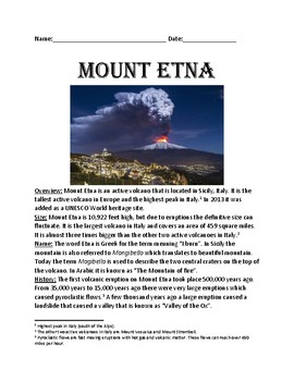Mount Etna - Italy Volcano Mountain lesson review facts information