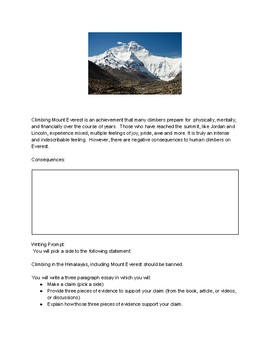 Mount Everest CER Writing  Assignment and Design Challenge