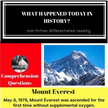 Mount Everest Differentiated Reading Passage May 8